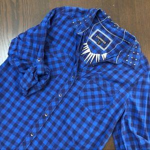Express blue plaid studded collar button up shirt